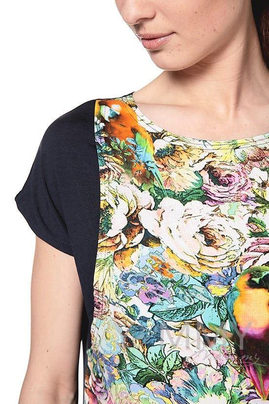 Изображение                               Платье-туника темно-синее с цветочным принтом