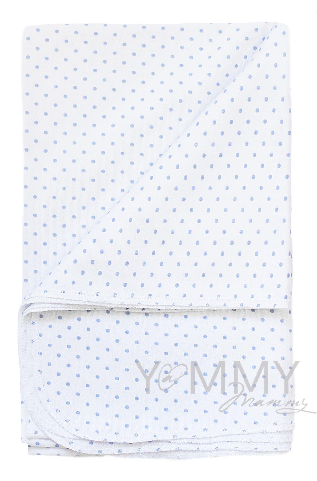 Изображение                               Трикотажная пеленка белая в голубой горошек 80х120