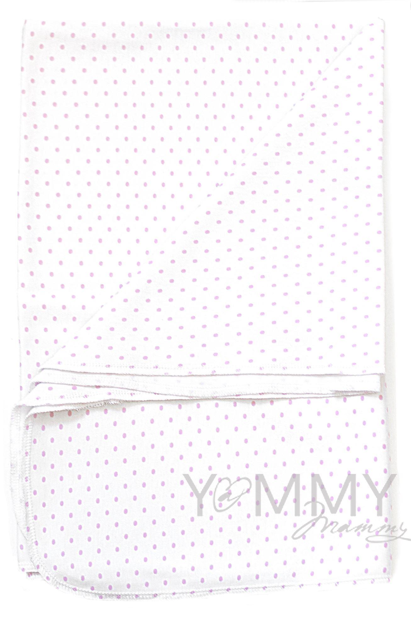 Изображение                               Трикотажная пеленка белая в розовый горошек 80х120