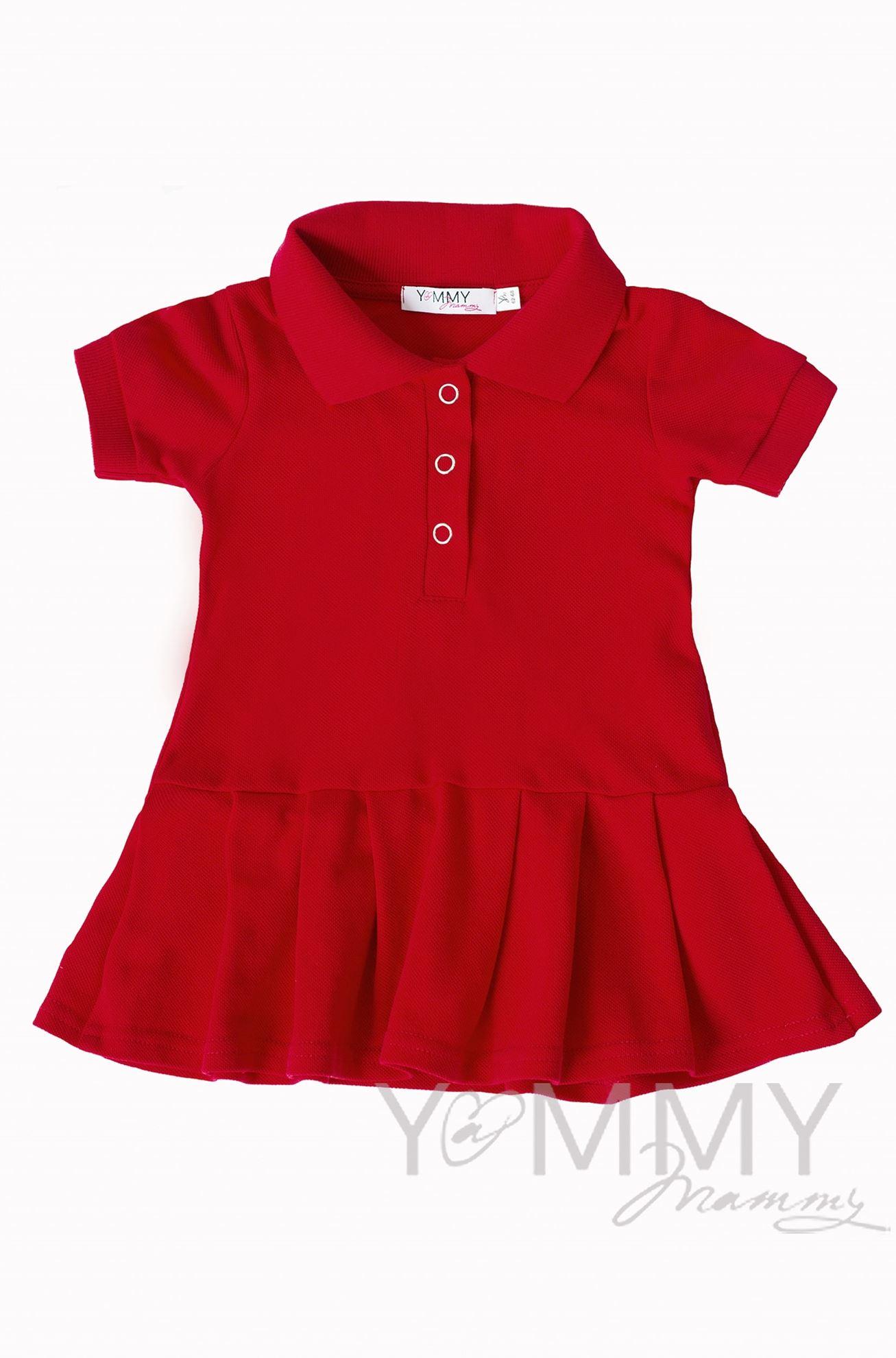 Изображение                               Детское платье поло с воланом красное