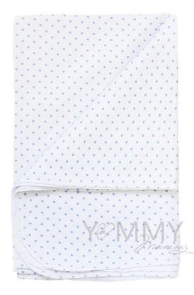 Изображение                             Трикотажная пеленка белая в голубой горошек 75х100