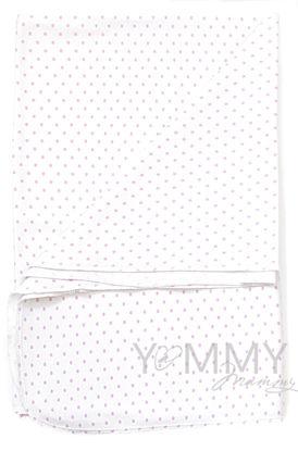 Изображение                               Трикотажная пеленка белая в розовый горошек 75х100