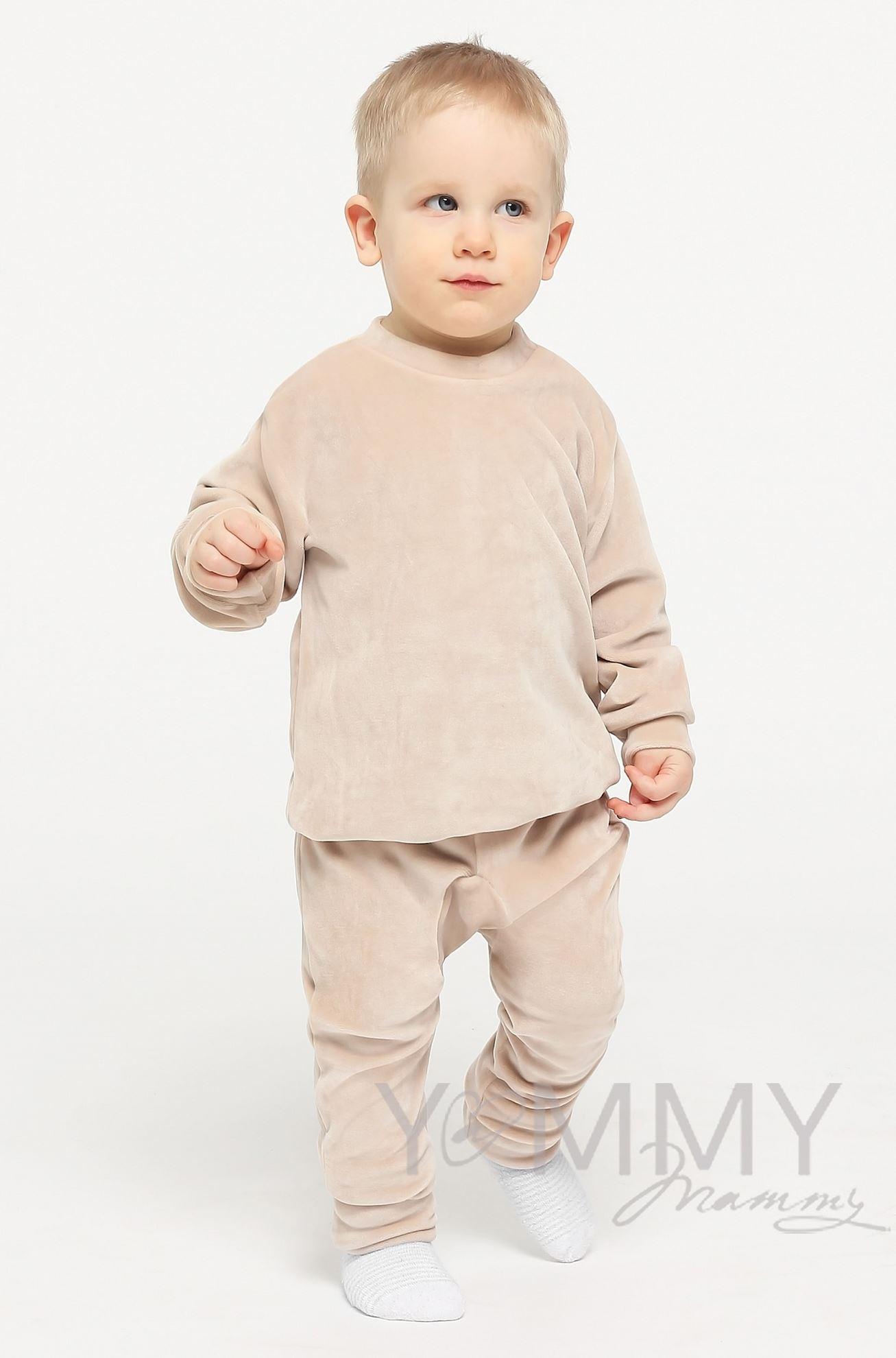 Изображение                               Детский велюровый костюм «хамелеон» светло-бежевый