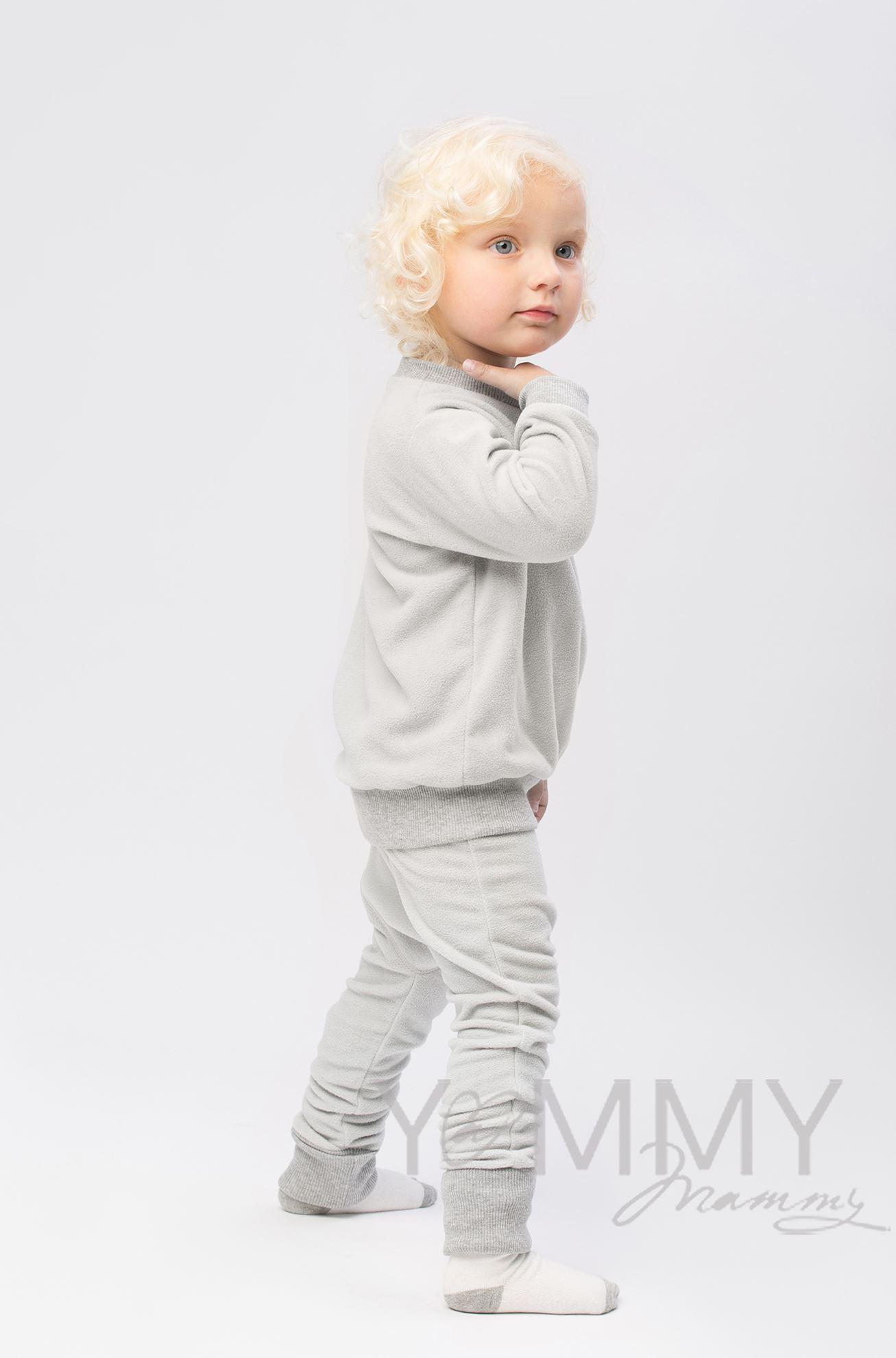 Изображение                               Детский флисовый костюм светло-серый