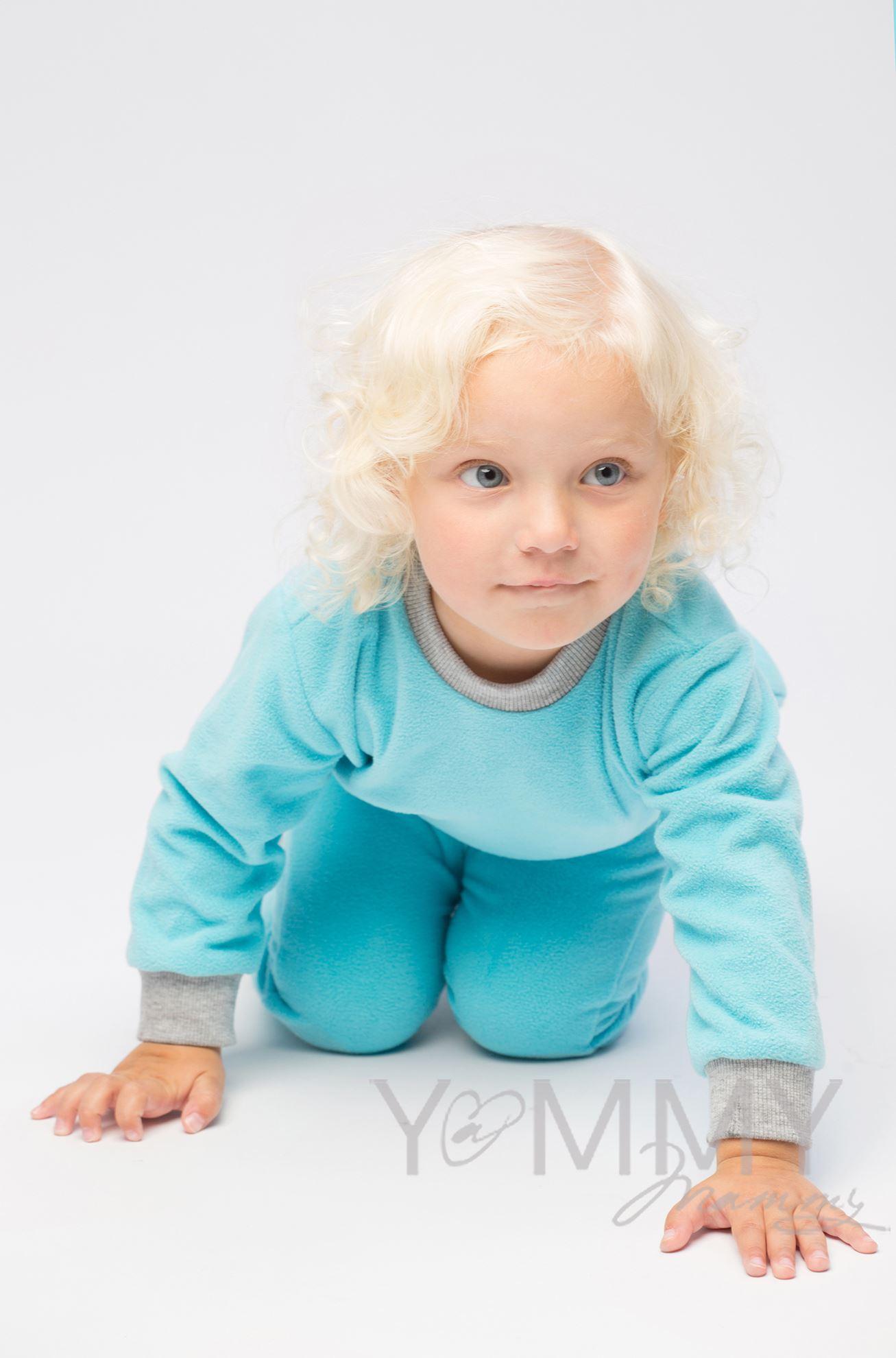 Изображение                               Детский флисовый костюм бирюзовый