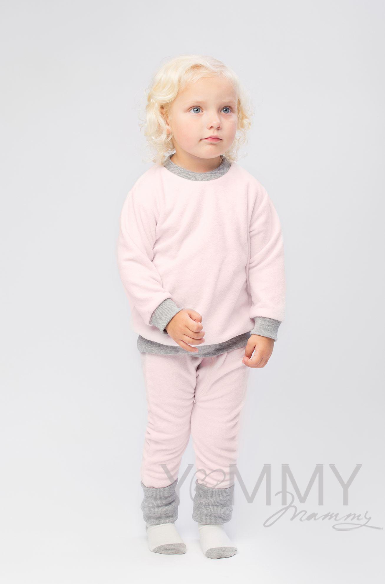 Изображение                               Детский флисовый костюм светло-розовый