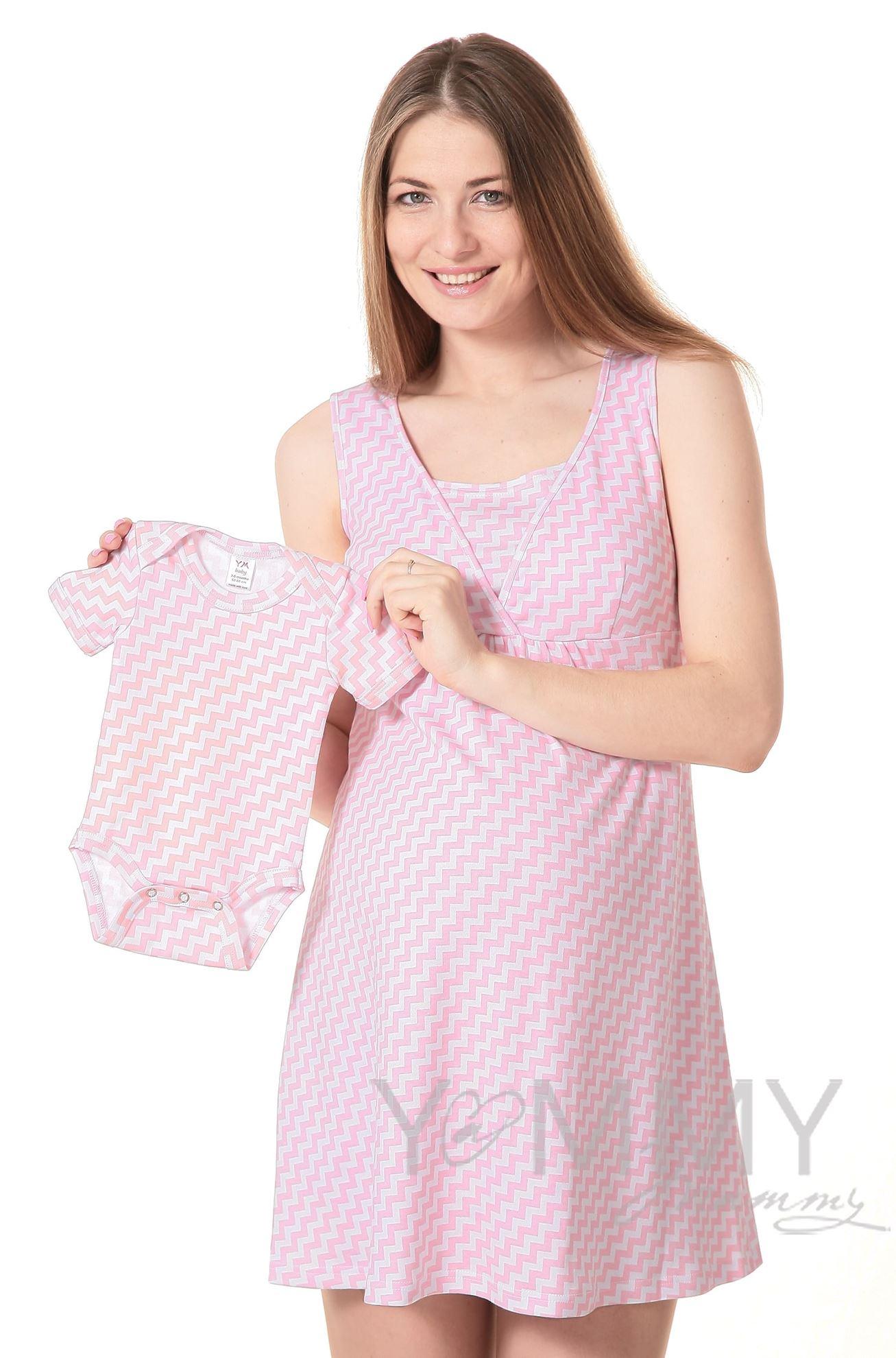 """Изображение                               Боди с коротким рукавом розовый """"зиг-заг"""""""