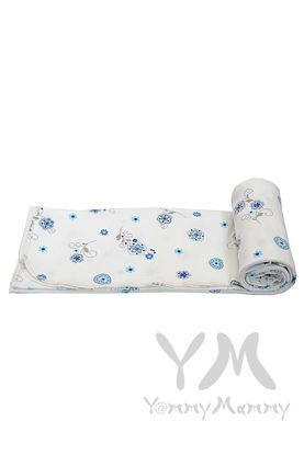 Изображение                               Трикотажная пеленка белая с синим цветочным принтом 75х100
