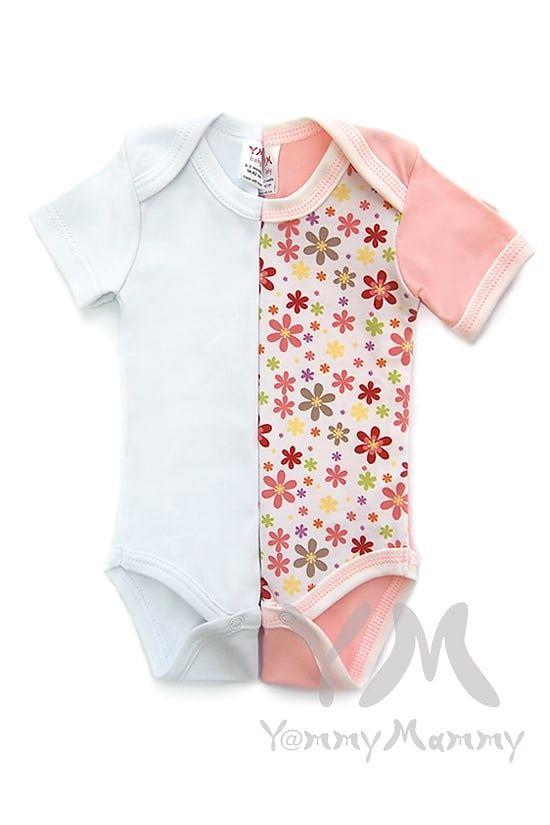Изображение                               Комплект из 2 боди с коротким рукавом (розовый и белый)