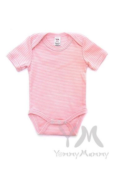 Изображение                               Боди с коротким рукавом в розовую полоску