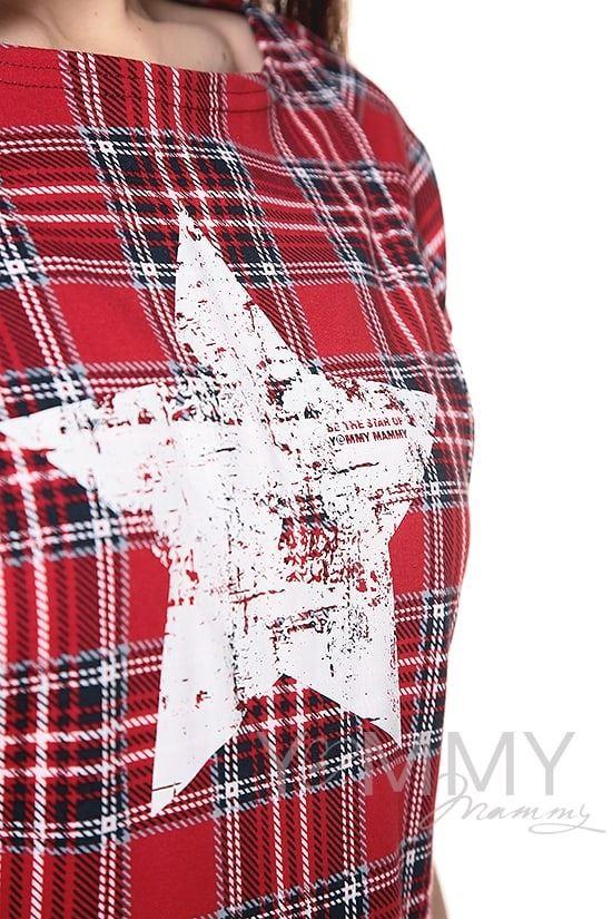 Изображение                               Боди с коротким рукавом в красную клетку с принтом звезда