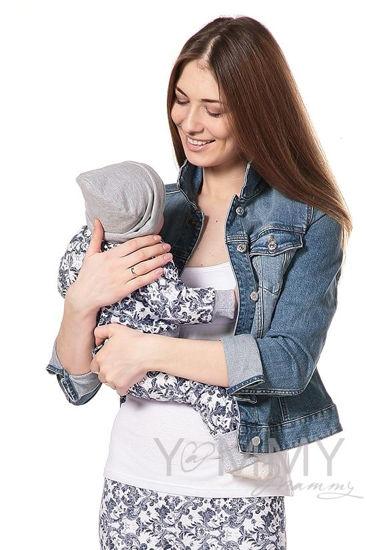 Изображение                             Костюмчик для малыша экрю с синим узором