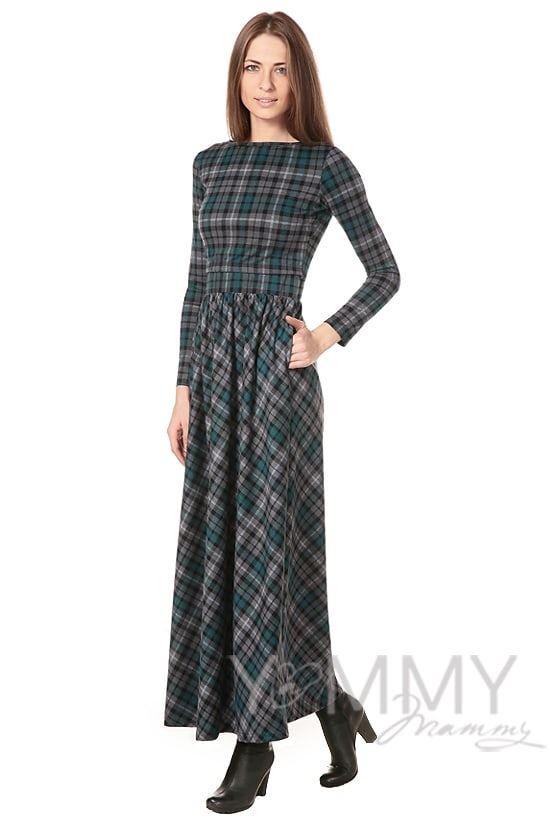 Изображение                               Платье длинное с карманами в зеленую / серую клетку