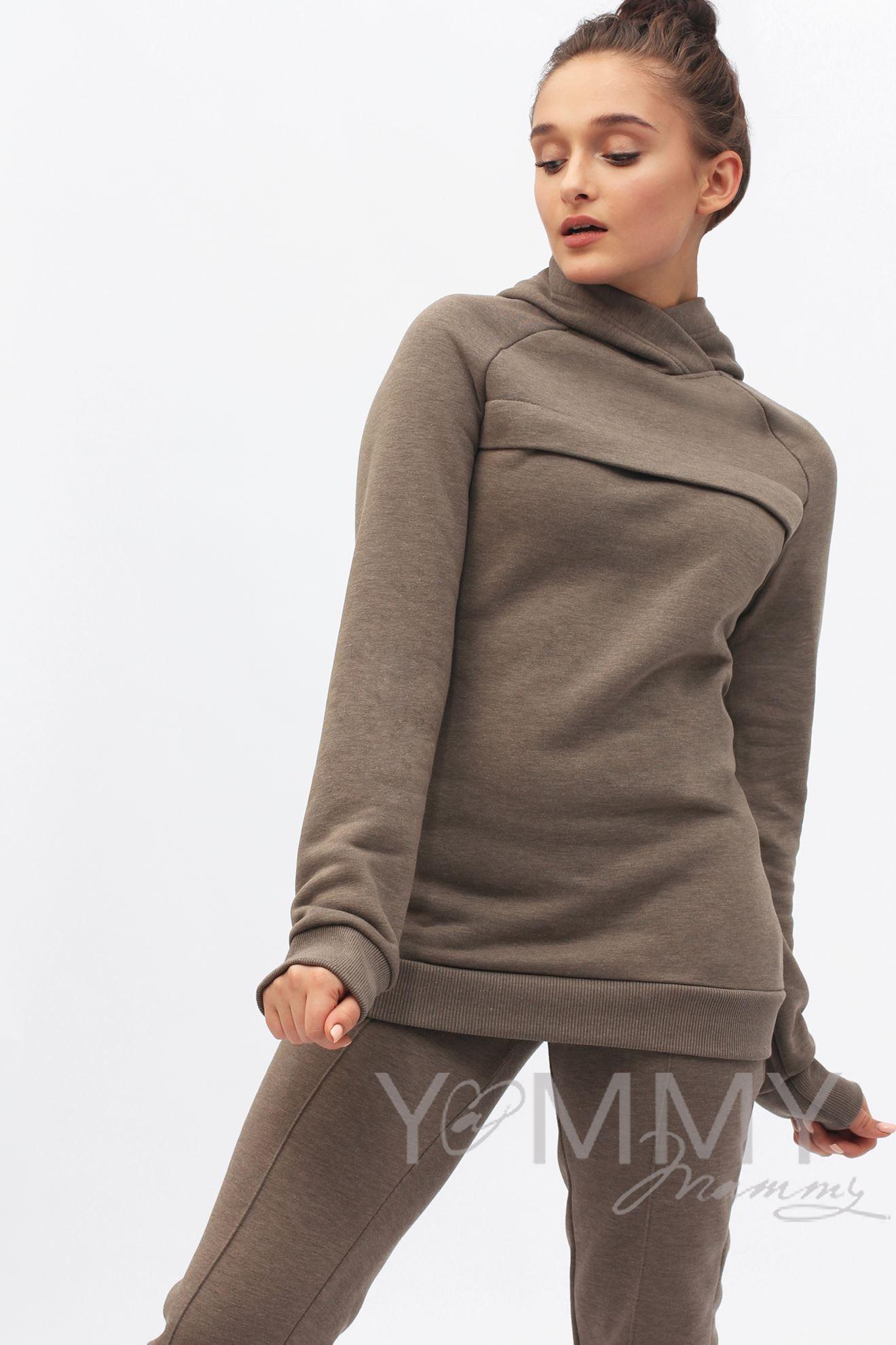 Изображение                               Костюм из худи и брюк коричневый меланж