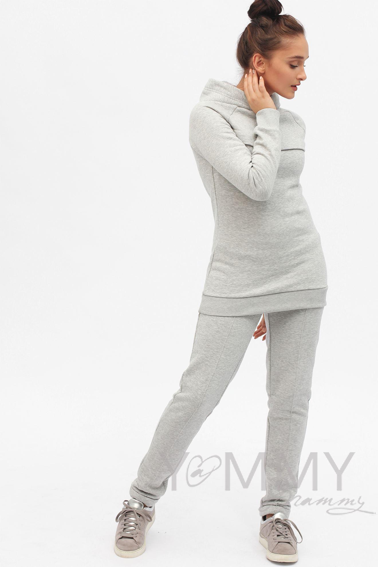 Изображение                               Костюм из худи и брюк серый меланж