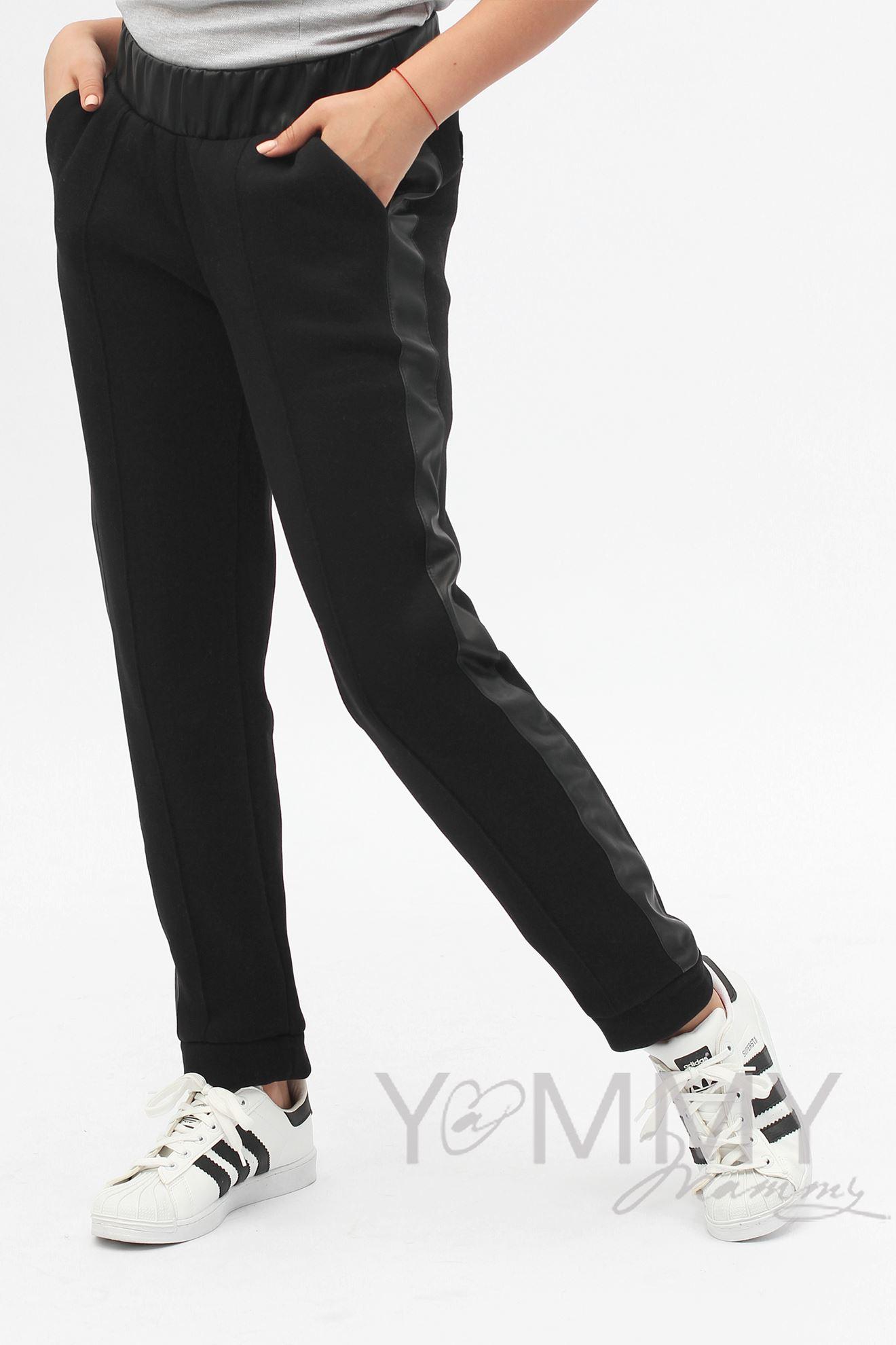 Изображение                               Черные брюки с кожаными лампасами с начесом универсальные