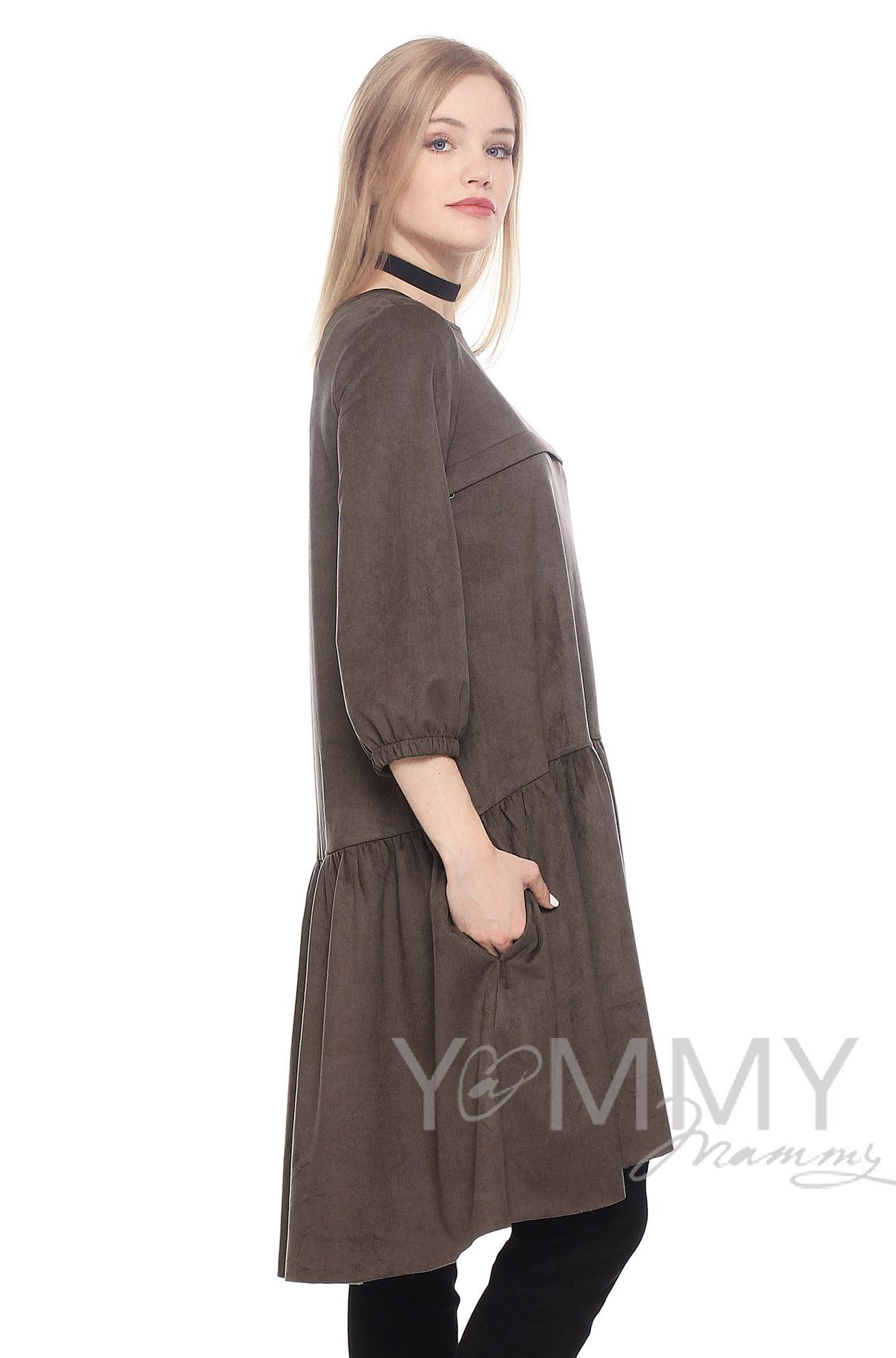 Изображение                               Замшевое платье с воланом мокко