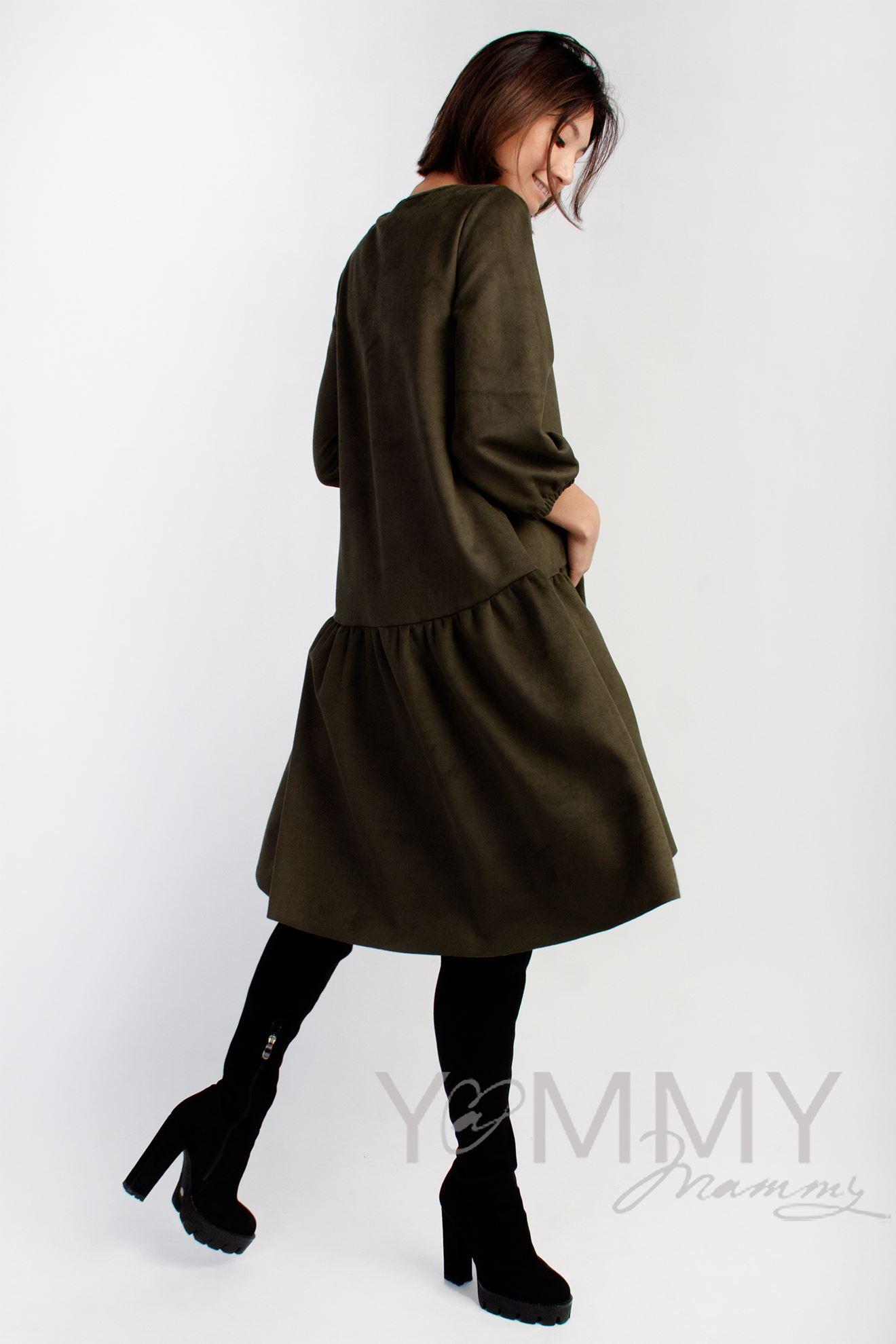 Изображение                               Замшевое платье с воланом хаки